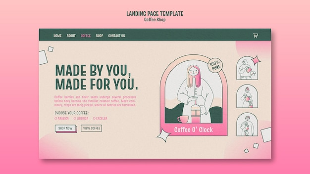Coffee shop landing page