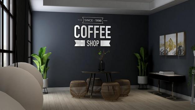현대적인 테이블과 의자에 있는 커피숍 로고 모형