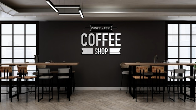Coffee shop logo mockup in the restaurant with wooden table and chair