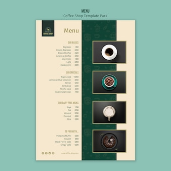 Coffee shop menu template pack