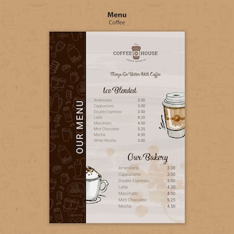 Coffee shop menu template with hand drawn elements