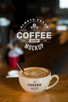 Coffee at shop mock-up