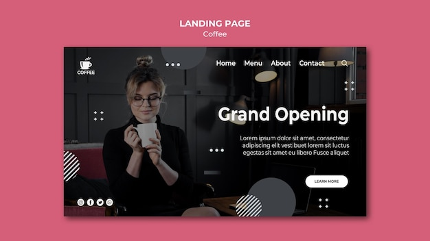 Coffee shop opening landing page