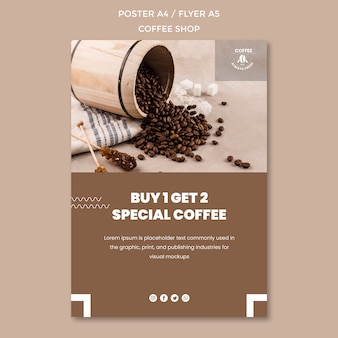 Coffee shop poster template theme Free Psd
