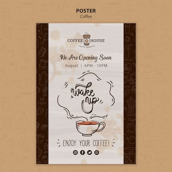 Coffee shop poster template with hand drawn elements