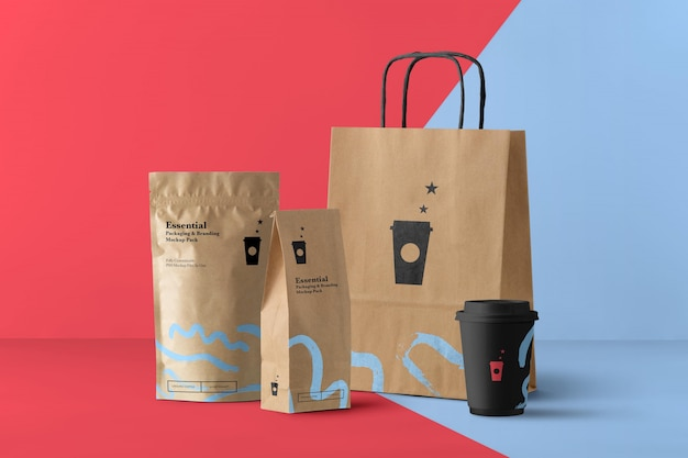 Coffee shop products mockup scene generator