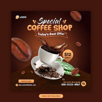 Coffee shop social media banner design template