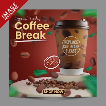 コーヒーショップソーシャルメディアポストプロモーションテンプレートプレミアムpsd