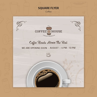 Coffee shop square flyer template
