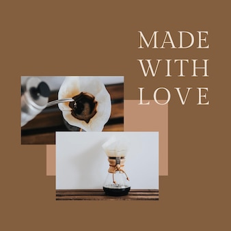 Coffee shop template psd for social media post made with love