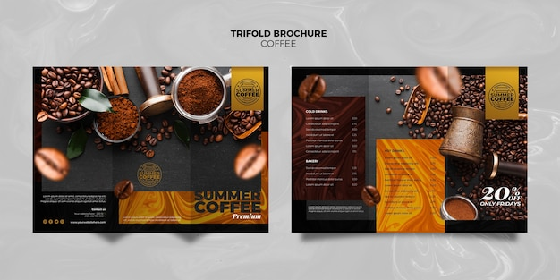 Coffee shop trifold brochure template Free Psd