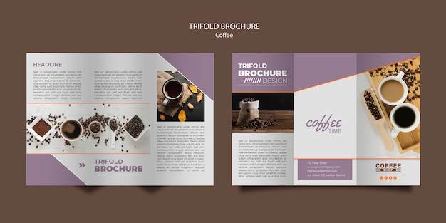 Coffee shop trifold brochure template