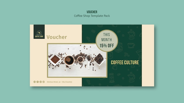 Coffee shop voucher template pack