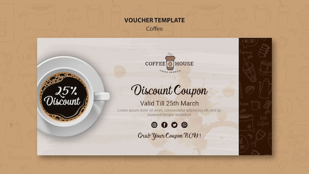 Coffee shop voucher template with hand drawn elements Free Psd