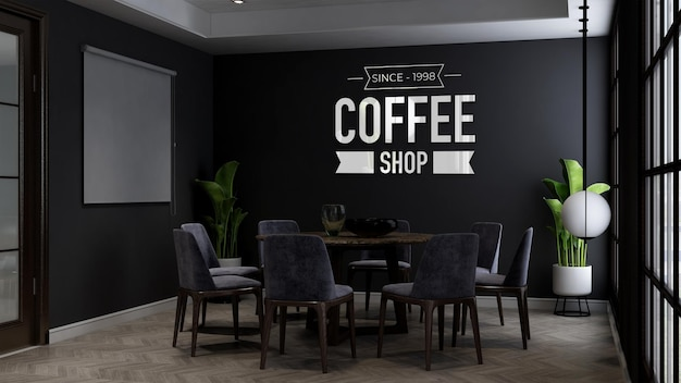 Coffee shop wall logo mockup in the cafe or restaurant meeting room