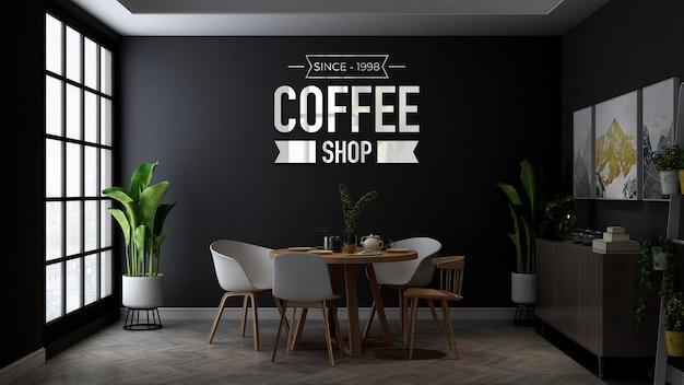 Макет логотипа стены кофейни на минималистском деревянном столе в кафе или ресторане