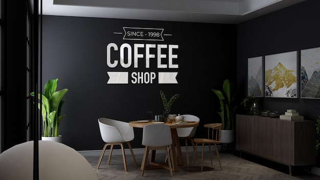 Coffee shop wall logo mockup in the minimalist wooden table in cafe or restaurant