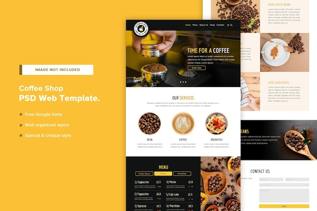Modello di pagina del sito web della caffetteria