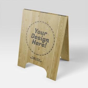 コーヒーショップ木製立ち看板リアルなモックアップ