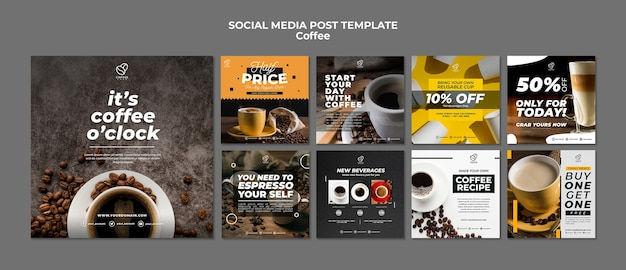 Coffee social media post template