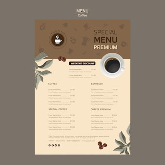 Coffee special menu template