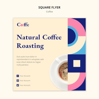 Coffee square flyer template