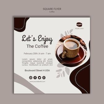 Modello di volantino quadrato caffè