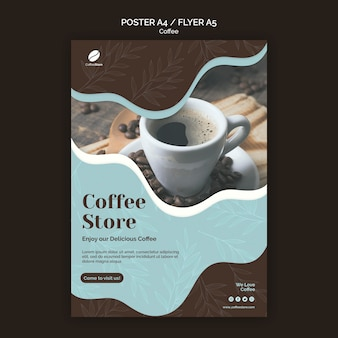 Coffee store poster template Free Psd