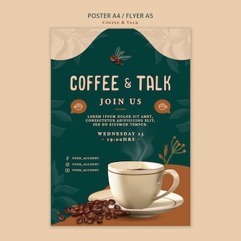 Coffee and talk flyer design Free Psd