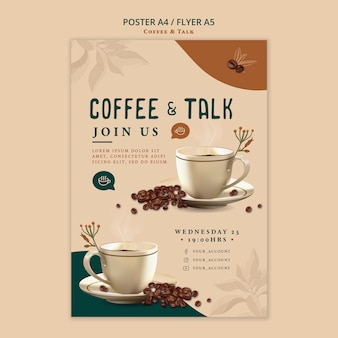 Coffee and talk flyer style Free Psd