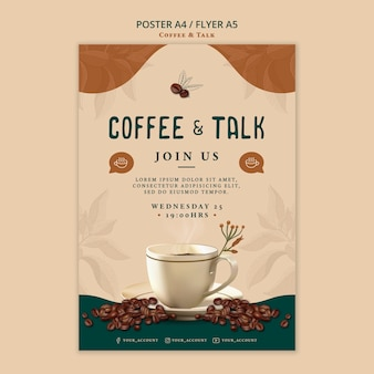 Coffee and talk poster design Free Psd
