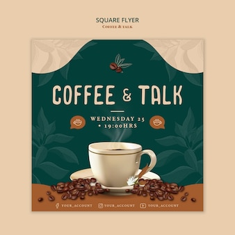Coffee and talk square flyer style