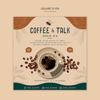 Coffee and talk square flyer