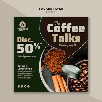 Coffee talks square flyer