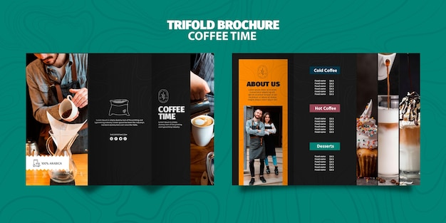 Coffee time trifold brochure template