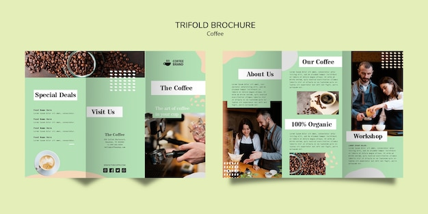 Coffee trifold brochure template Free Psd