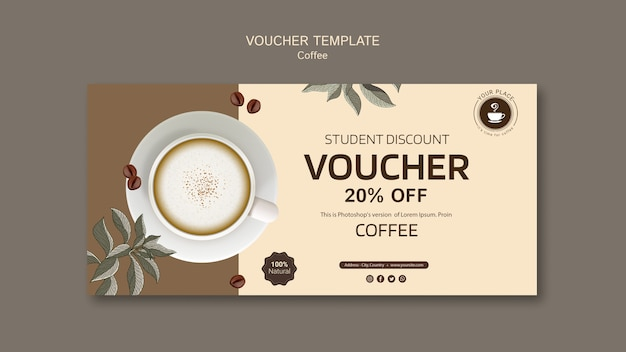 Coffee voucher template with discount