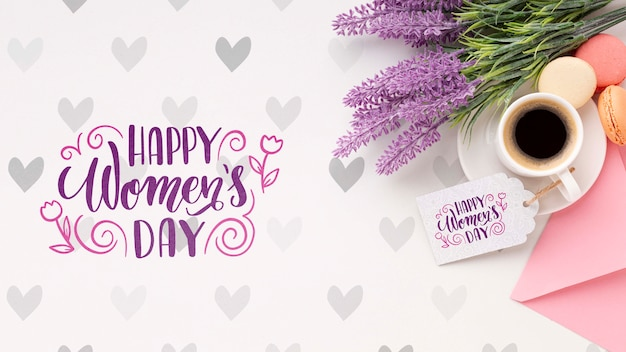 Coffee with lavender for womens day celebration