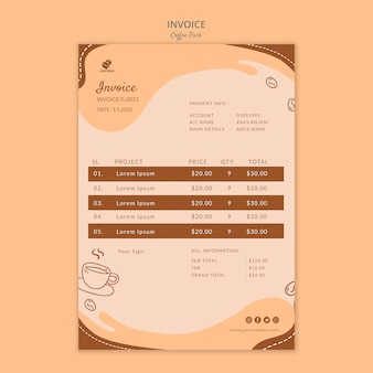 Coffeein coffee pack invoice template