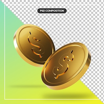 Coin 3d visual for composition isolated