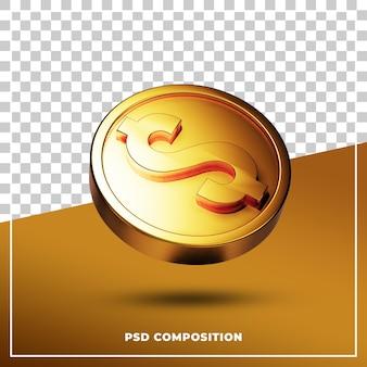Монета 3d визуально для изолированной композиции. 3d рендеринг