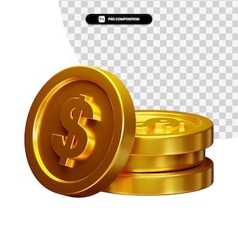 Монета 3d-визуал для композиции изолированные