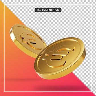 Монета 3d визуализация для композиции изолированные