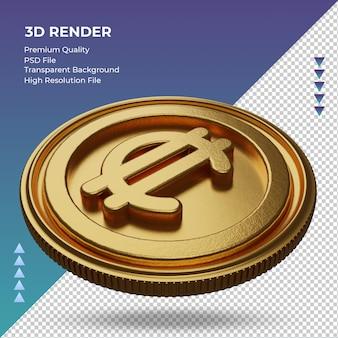 Монета коста-рика двоеточие символ валюты золото 3d-рендеринг правый вид