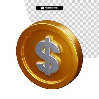 Монета доллар 3d-рендеринга изолированные