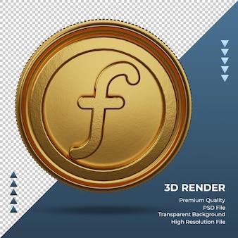 Монета голландский гульден символ валюты золото 3d-рендеринг фронта