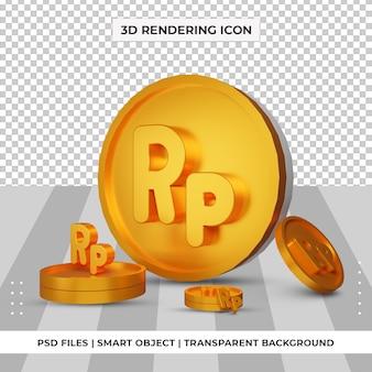 Монета индонезийская рупия символ валюты золото 3d-рендеринг