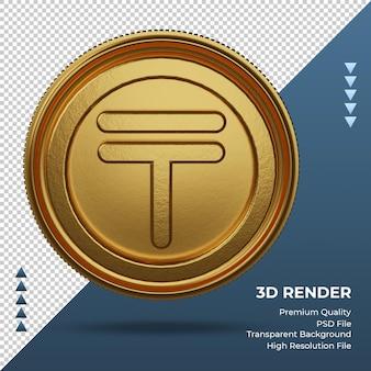 Монета казахстан тенге символ валюты золото 3d рендеринг фронта