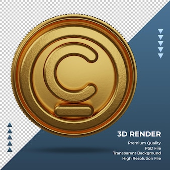 Монета кыргызский сом валюты символ золото 3d-рендеринг фронта
