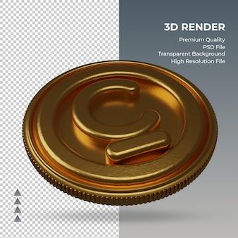 Монета кыргызский сом валюты символ золото 3d-рендеринг вид слева